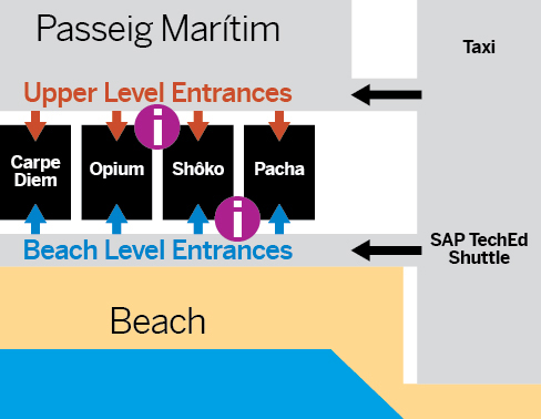Restaurants/Clubs, Barcelona Beachfront map, Passeig Marítim 32–38, 08003 Barcelona